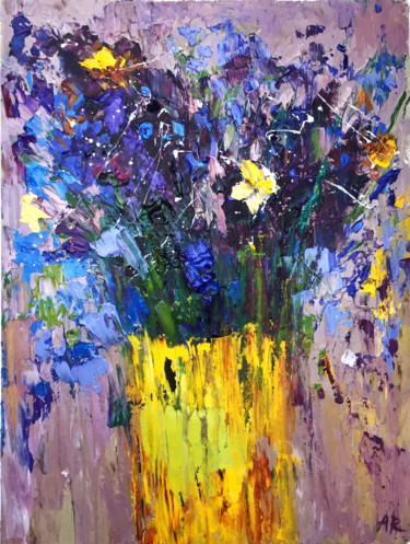 """Painting titled """"Blue and Purple"""" by Alena Rumak, Original Art,"""
