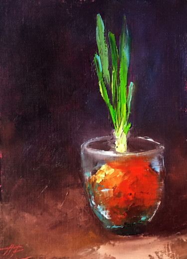 """Painting titled """"Spring Onion Oil Pa…"""" by Alena Rumak, Original Art, Oil"""