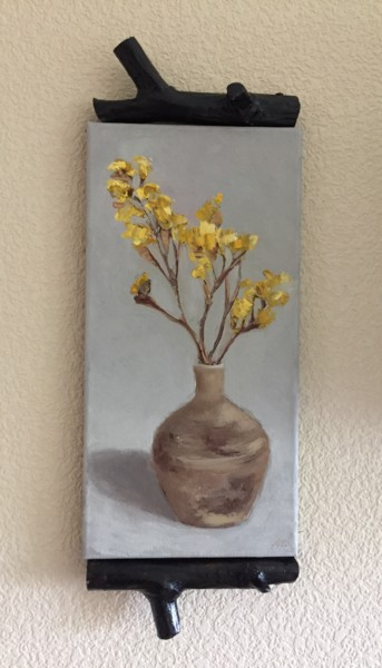 """Painting titled """"Dried Yellow Flower"""" by Alena Rumak, Original Art, Oil"""