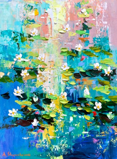 """Painting titled """"Lilies pond; framed…"""" by Alena Shymchonak, Original Art, Oil"""