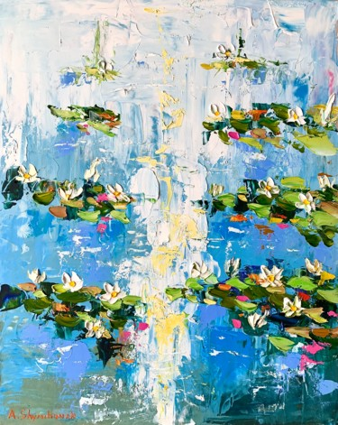"""Painting titled """"Lily pond; framed;…"""" by Alena Shymchonak, Original Art, Oil"""