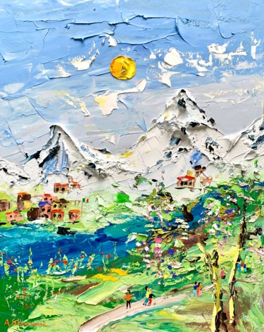 Mountainscape Painting, oil, impressionism, artwork by Alena Shymchonak