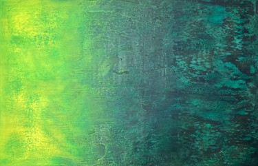 """Painting titled """"Emerald Glow"""" by Alessandra Viola, Original Art, Acrylic Mounted on Stretcher frame"""