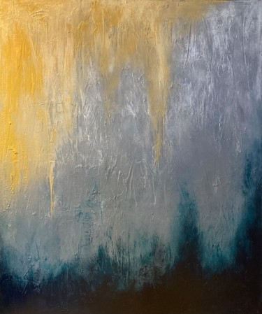"""Painting titled """"Golden Rays"""" by Alessandra Viola, Original Art, Acrylic Mounted on Stretcher frame"""