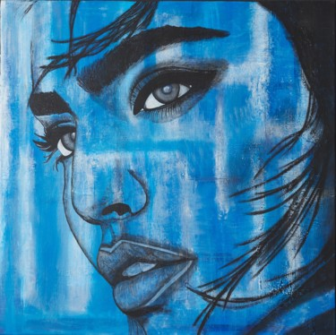 """Painting titled """"Woman in Blue"""" by Alessandra Viola, Original Art, Acrylic Mounted on Stretcher frame"""