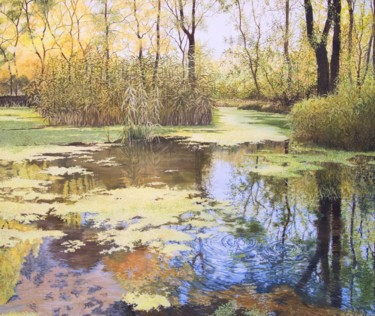 Forest Painting, oil, hyperrealism, artwork by Alevtina Pugina
