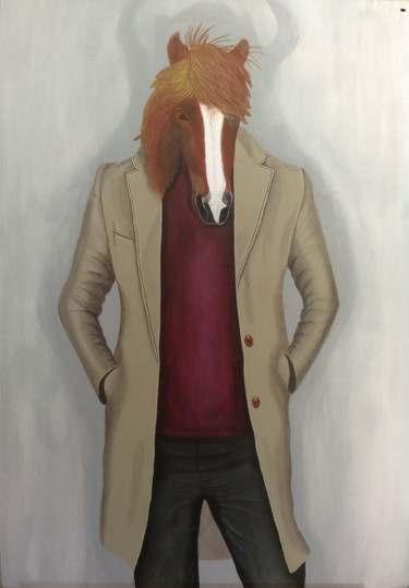 """Painting titled """"Horse in a Coat"""" by Alexander Samokhval, Original Art, Acrylic"""