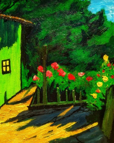 """Painting titled """"Little green"""" by Alexander Brisac, Original Art, Acrylic"""