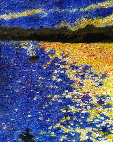 """Painting titled """"Little boat on the…"""" by Alexander Brisac, Original Art, Acrylic"""