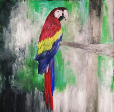 """Painting titled """"Parrot"""" by Αλεξάνδρα Πετρόπουλου, Original Art, Acrylic Mounted on Stretcher frame"""