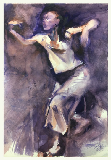 Dance Painting, watercolor, expressionism, artwork by Alexandre Dumitrescu