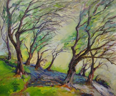 """Painting titled """"The olive trees"""" by Alexandra Ghimisi, Original Art, Acrylic"""