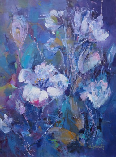 """Painting titled """"Lilies in blue"""" by Alexandra Ghimisi, Original Art, Acrylic"""
