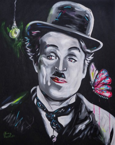 """Painting titled """"- Charie Chaplin -"""" by Alexis Chomel, Original Art, Acrylic"""
