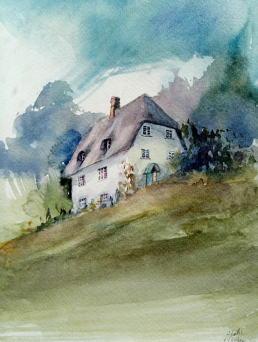 """Painting titled """"On the hill"""" by Alina Matykiewicz, Original Art, Watercolor"""