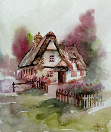"""Painting titled """"House with a garden"""" by Alina Matykiewicz, Original Art, Watercolor"""