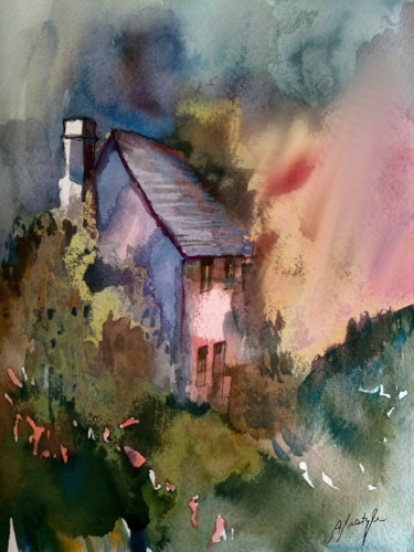 """Painting titled """"House in forest"""" by Alina Matykiewicz, Original Art, Watercolor"""