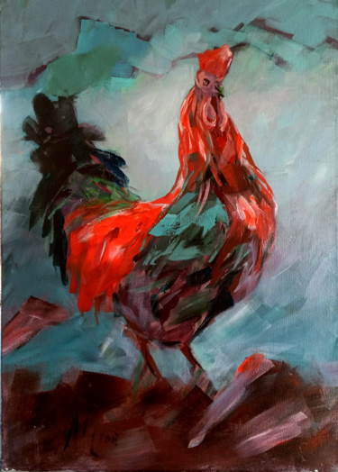 """Painting titled """"Rooster"""" by Alina Matykiewicz, Original Art, Oil"""