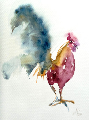 """Painting titled """"Red rooster"""" by Alina Matykiewicz, Original Art, Watercolor"""