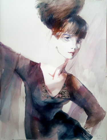 """Painting titled """"With a shawl"""" by Alina Matykiewicz, Original Art, Watercolor"""
