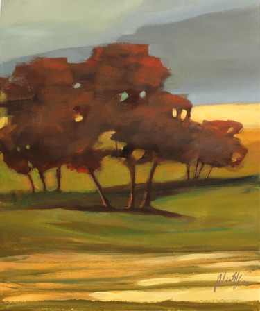 """Painting titled """"Autumn in the field"""" by Alina Matykiewicz, Original Art, Acrylic Mounted on Wood Panel"""