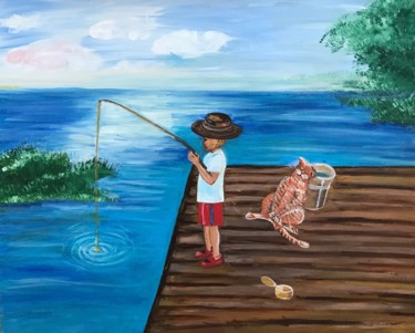 """Painting titled """"The boy is fishing,…"""" by Alina Morozova, Original Art, Oil"""