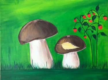 """Painting titled """"Mushrooms"""" by Alina Morozova, Original Art, Oil Mounted on Stretcher frame"""