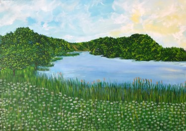 """Painting titled """"The river"""" by Alina Morozova, Original Art, Oil"""