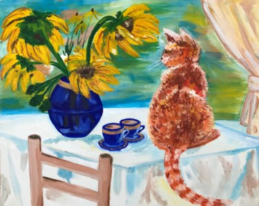 """Painting titled """"The cat is meow"""" by Alina Morozova, Original Art, Oil"""