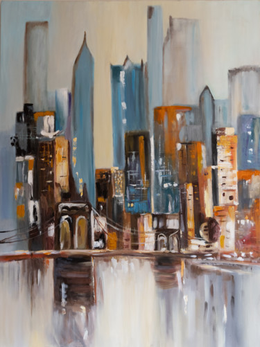 """Painting titled """"Sunset in Big Apple…"""" by Alina Odwyer, Original Art, Acrylic"""