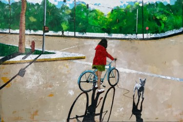 """Painting titled """"Don't walk"""" by Philip Michael Martin, Original Art, Acrylic Mounted on Wood Panel"""