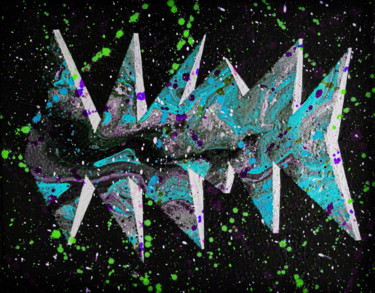 """Painting titled """"Psychedelic fishmas…"""" by Alistair Coull, Original Art, Acrylic"""
