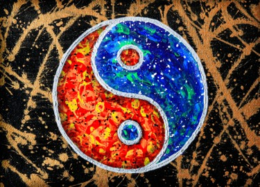 """Painting titled """"Psychedelic yin and…"""" by Alistair Coull, Original Art, Acrylic"""