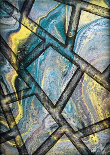 """Painting titled """"Marble flow cyan"""" by Alistair Coull, Original Art, Acrylic"""