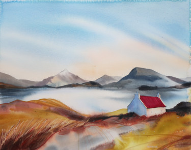 Landscape Painting, watercolor, expressionism, artwork by Alla Vlaskina