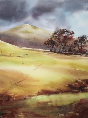 """Painting titled """"Autumn in England"""" by Alla Vlaskina, Original Art, Watercolor"""