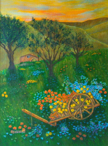 Painting, acrylic, land art, artwork by Allegretto