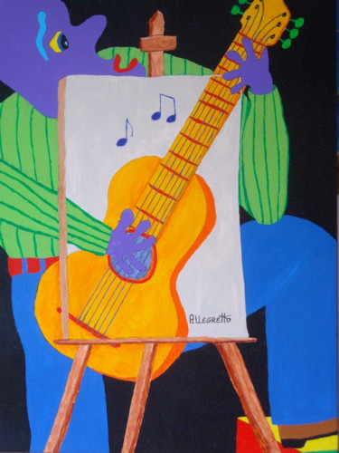 Guitar Painting, acrylic, artwork by Allegretto