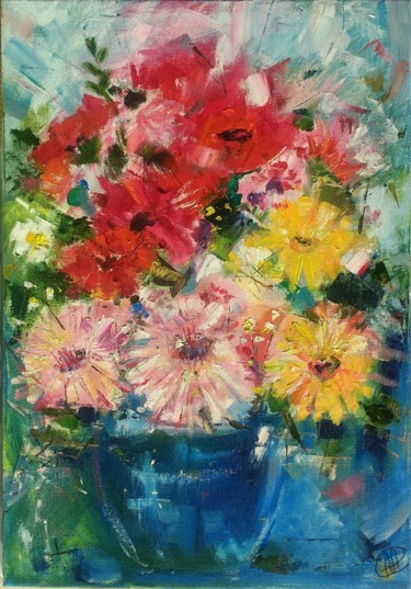"""Painting titled """"floral abstract bou…"""" by Skorokhoart, Original Art, Oil"""