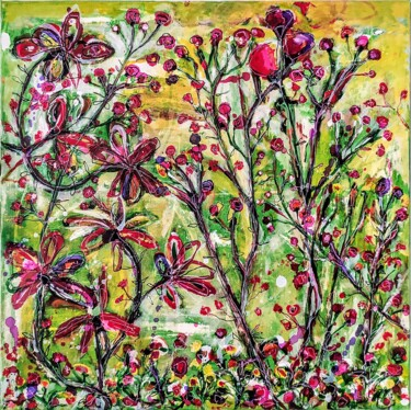 """Painting titled """"Flowers in the wind…"""" by Alfonso Sánchez, Original Art, Acrylic Mounted on Stretcher frame"""