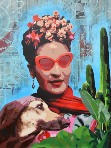 """Painting titled """"FRIDA WITH DOG AND…"""" by Alvarenga Marques, Original Art, Acrylic"""