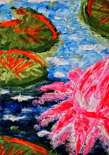 """Painting titled """"The Pink Lotus"""" by Amar Hasshim, Original Art, Oil"""