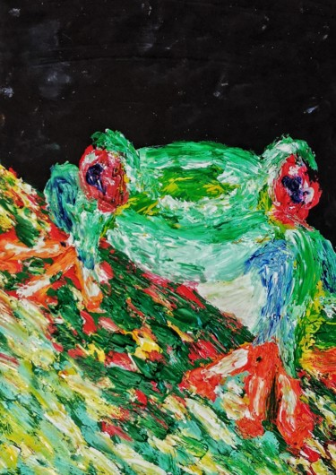 """Painting titled """"The Little Frog"""" by Amar Hasshim, Original Art, Oil"""