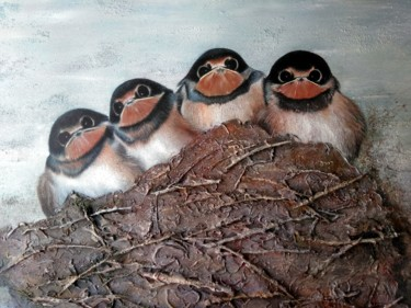 """Painting titled """"Nest"""" by Jan Deckx, Original Art, Acrylic Mounted on Wood Panel"""
