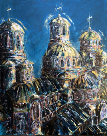 """Painting titled """"Cathédrale orthodoxe"""" by Amey, Original Art, Acrylic Mounted on Stretcher frame"""