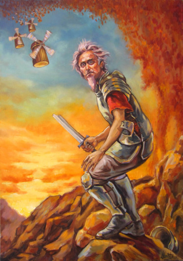 """Painting titled """"Don quixote"""" by Kostiantyn Shyptia, Original Art, Oil Mounted on Stretcher frame"""