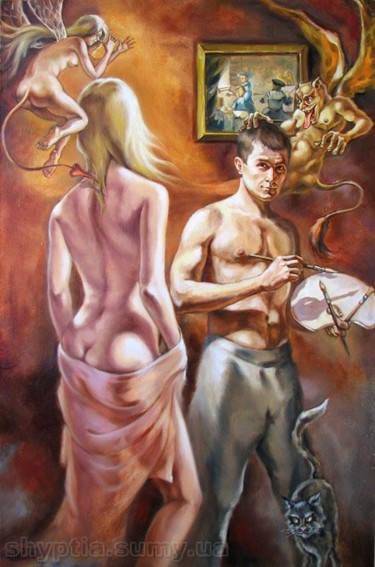 """Painting titled """"Allegory of painting"""" by Kostiantyn Shyptia, Original Art, Oil"""