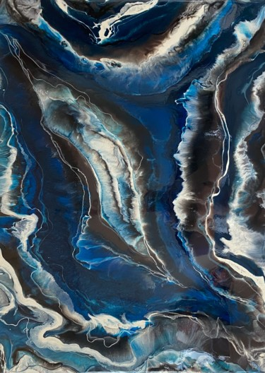 """Painting titled """"Depths of blue agate"""" by Ana Maksi, Original Art, Resin"""