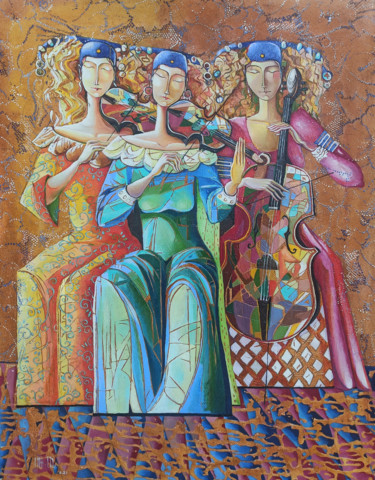 """Painting titled """"Trio (60x80cm, oil…"""" by Anahit Mirijanyan, Original Art, Oil Mounted on Stretcher frame"""