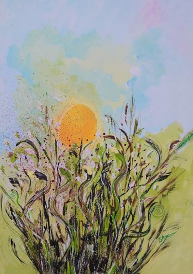 Countryside Painting, acrylic, expressionism, artwork by Ana Maria Guta